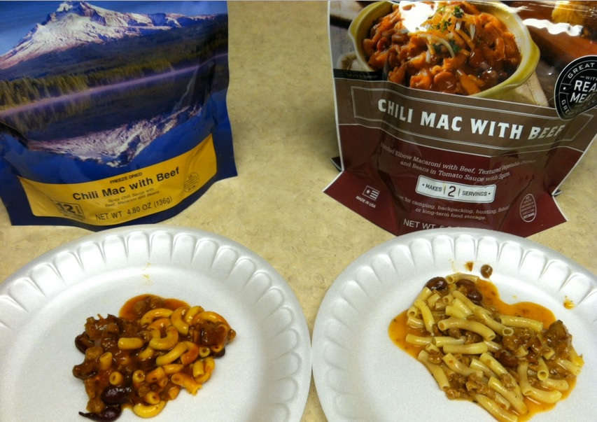 wise food vs mountain house taste test chili mac with beef