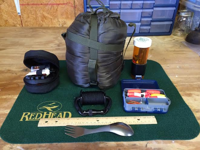 Tactical Cleaning Kit, Compression Sack, Butt pack Fishing Kit, Rucksack Fishing Kit, 3/32 line of RLD, Titanium Spork/Spoon Combo